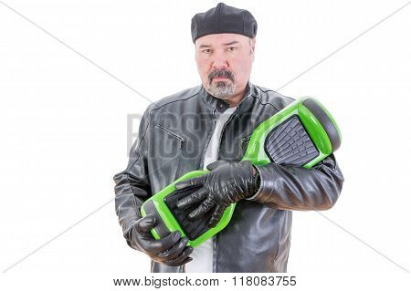 Man With Serious Expression With Hoverboard