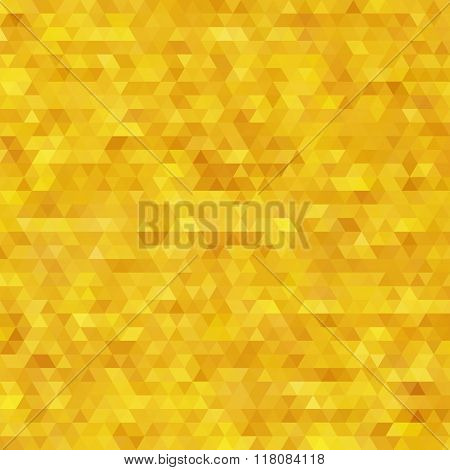 Glitter triangles mosaic faceted golden abstract background.