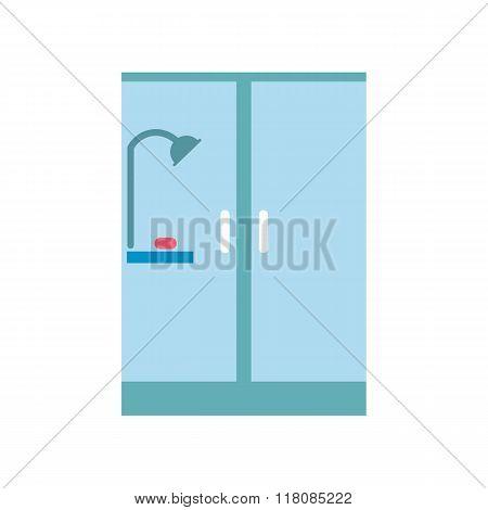Shower cabin flat icon