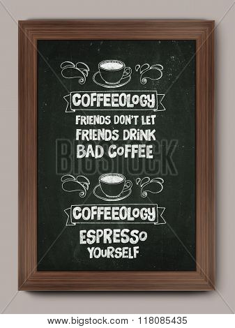 Hand drawn poster with quote about coffee
