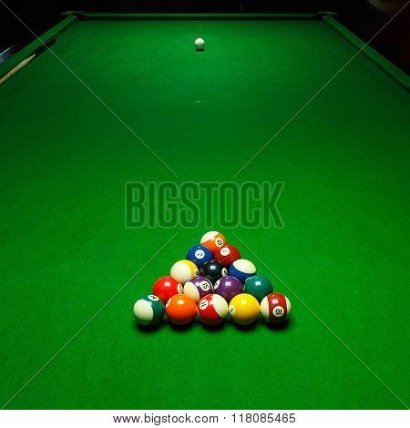 Billards pool game. Green cloth table