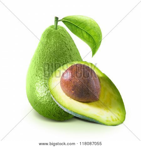 Cut avocado on white with clipping path