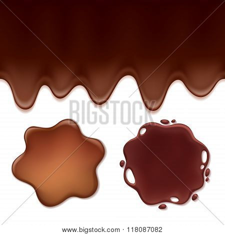 Chocolate melt set -blots and flowing drips.
