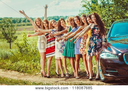 A Crowd Of Beautiful Women Hitchhikers