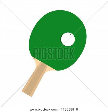 Green racket for playing table tennis flat icon