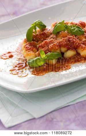 Gnocchi, Italian Pasta With Tomato Sauce Basil And Grana Cheese