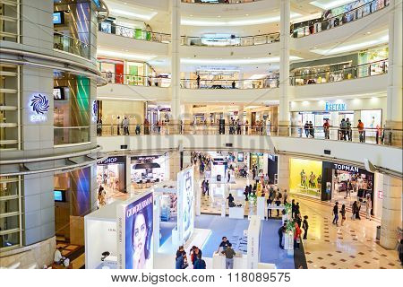 KUALA LUMPUR, MALAYSIA - APRIL 23, 2014: Suria KLCC shopping mall in Petronas Twin Towers. Suria KLCC is one of the largest shopping malls in Malaysia