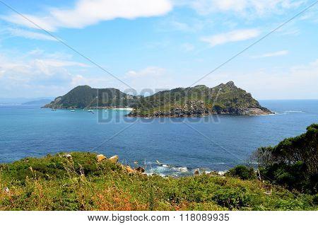 San Martiño Island view from Faro Island (Islas Cies, Spain)
