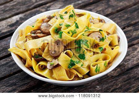Pappardelle Pasta with mushrooms and other herbs