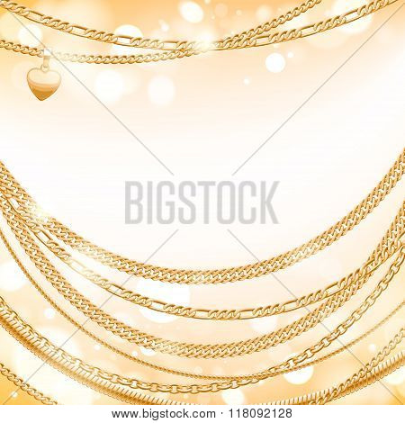 Golden chains on light glow background.