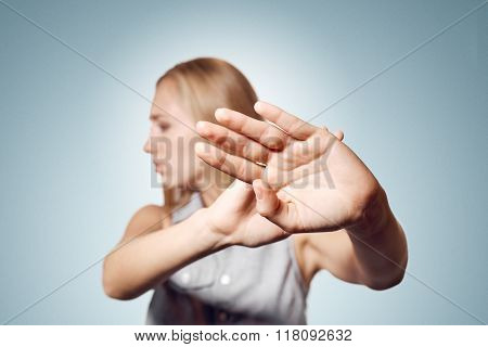 No Photo! Woman Showing Her Hands As Stop Sign. Negative Emotions, Facial Expression.