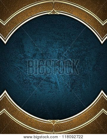Golden Frame On A Blue Background. Element For Design. Template For Design. Copy Space For Ad Brochu