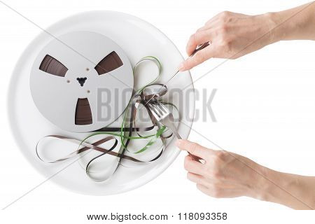 Reel Magnetic Tape On A Plate