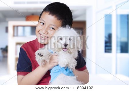 Cute Boy Hugging Maltese Dog At Home