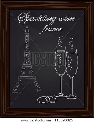 Beautiful Two Glasses Champagne And Two Wedding Rings On The Background Eifel Tower