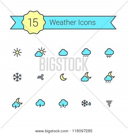Weather Flat Line Minimal Colour Icons For Your App And Website.