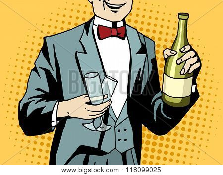 Pop Art Waiter With Champagne And Wineglasses