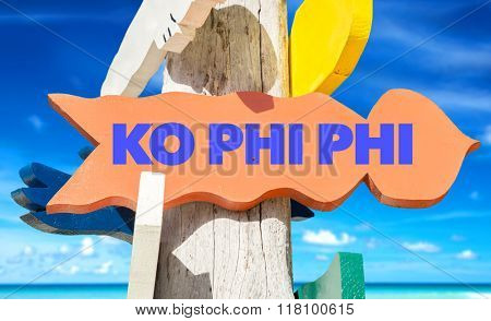 Koh Phi Phi welcome sign with beach