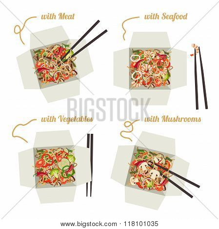 Chinese noodles in boxes.