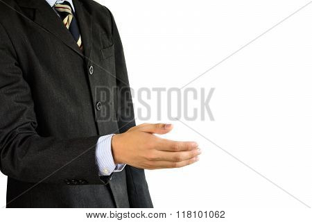 Buisnessman With Open Hand Ready For Handshake