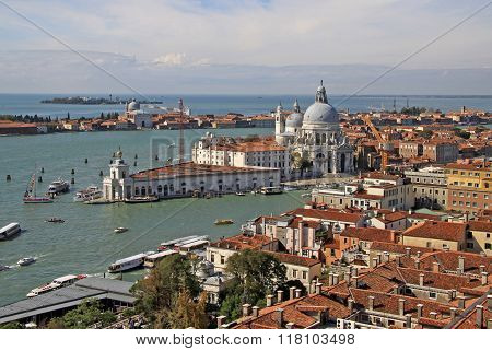 Venice, Italy - September 02, 2012: Aerial View Of The Basilica Santa Maria Della Salute From St Mar