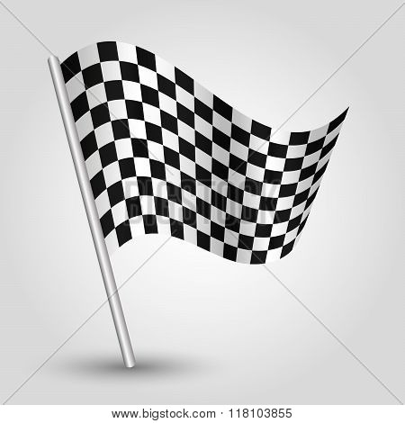 Vector Waving Simple Triangle Checkered Racing Flag On Slanted Pole - Icon Of Start And Finish