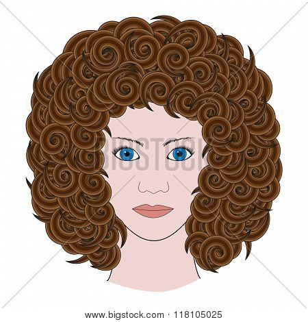 Portrait Of Woman With Curly Brown Hair