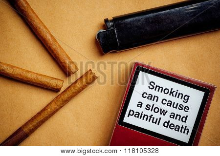 Smoking Cigarettes Addiction And Health Issue Concept, Flat Lay Arrangement