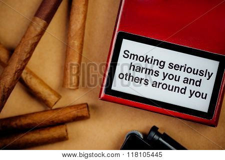 Smoking Cigarettes Addiction And Health Issue Concept, Flat Lay