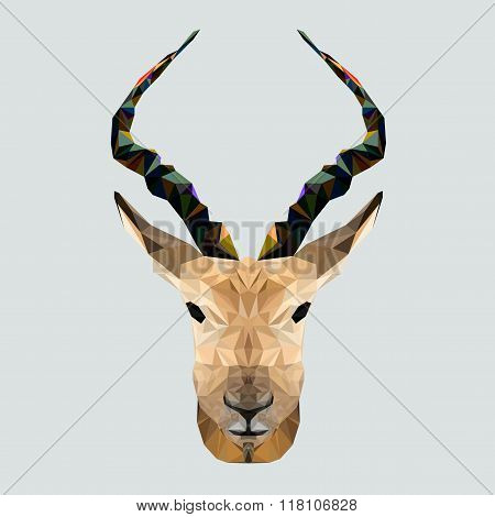 Antelope in polygonal style. Triangle vector illustration of animal for use as a print on t-shirt an