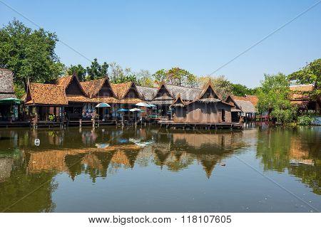 Floating Market In Mueang Boran