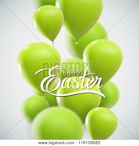 Easter Lettering With Flying Balloons
