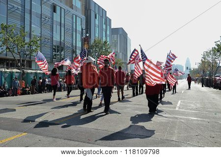 Participants With American Flags