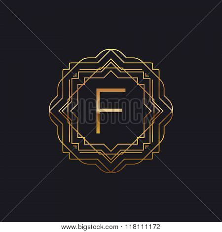 art-deco golden F frame