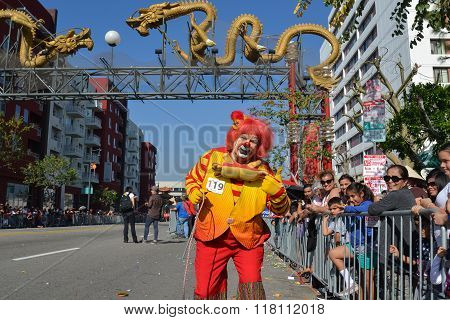 Clown During The 117Th Golden Dragon Parade,