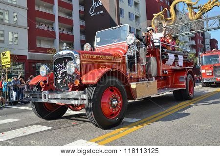 Vintage Fire Truck During The 117Th Golden Dragon Parade