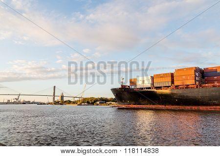 Full Freighter Heading Toward Bridge