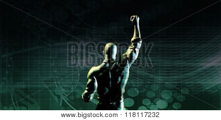 Empowered Individual or Businessman Symbolic of Winning