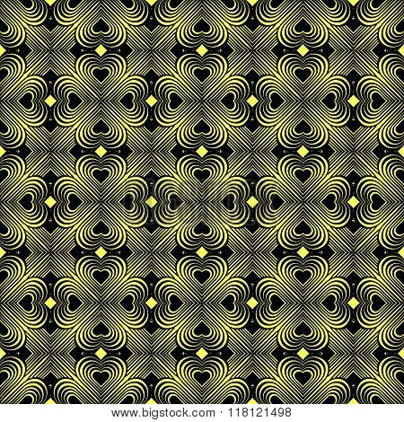 Seamless Geometric Pattern With Stylized Hearts. Repeating Vintage Texture.Abstract Yellow And Blac?