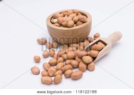 Peanut In Gunny Bag On White Background