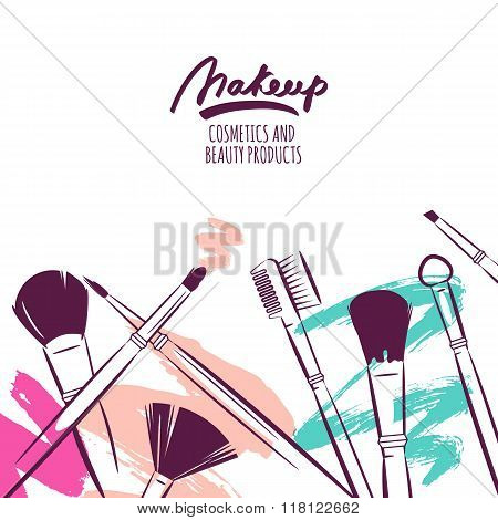 Watercolor Hand Drawn Illustration Of Makeup Brushes On Colorful Grunge Background.