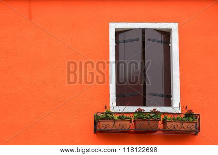 Window Shutters Closed On Orange Wall, Burano, Venice