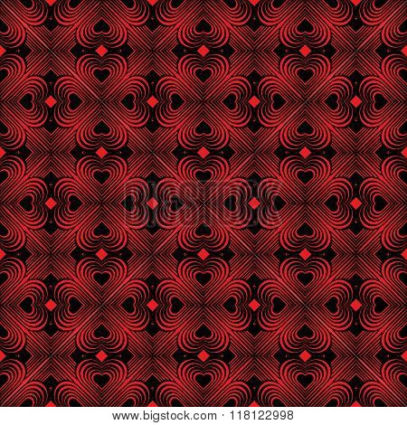 Seamless Geometric Pattern With Stylized Hearts. Repeating Vintage Texture. Abstract Red And Black.