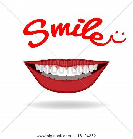 Realistic smile isolated on white. Vector
