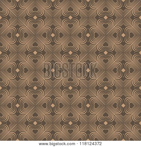 Seamless Geometric Pattern With Stylized Hearts. Repeating Vintage Texture.Abstract Brown Background