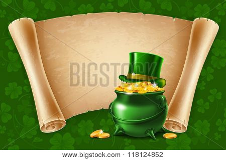 Saint Patricks Day Card Design with Treasure of Leprechaun, Pot Full of Golden Coins, Green Top Hat and Ancient Paper Roll on Background. Vector Illustration. There is Space For Your Text.