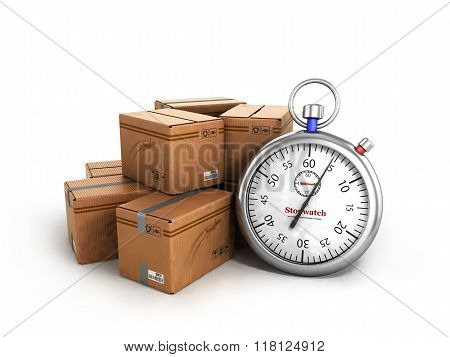 Stopwatch Next To The Boxes, The Concept Of Fast Delivery