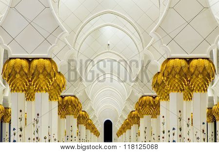Interior Of Sheikh Zayed Mosque  In United Arab Emirates