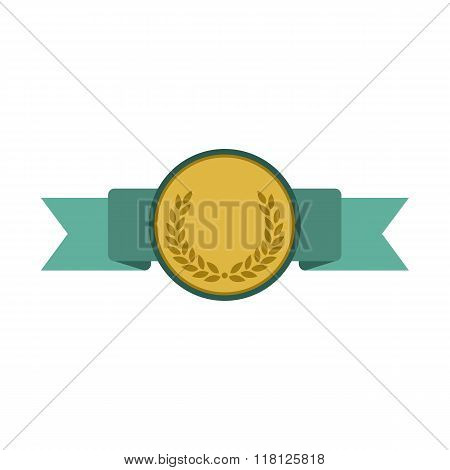 Medal with blue ribbon flat icon