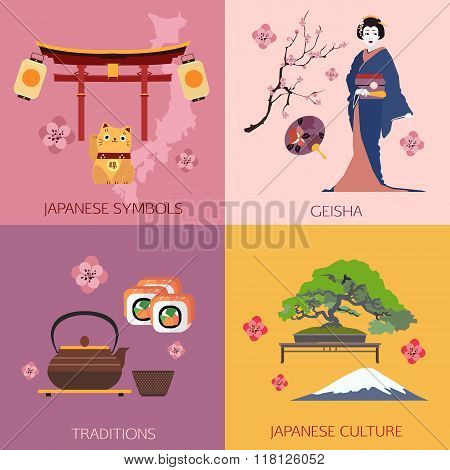 Set of Japan travel compositions with place for text. Japanese symbols, Geisha, Traditions, Japanese